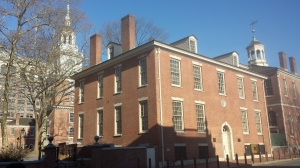 "Headquarters of the Amercian Philosophical Society, oldest publisher in America.  The 1795 building is adjacent to Independence Hall in Philadelphia. The reception for ""Against Time: Letters from Nazi Germany, 1938-1939"" was held in the upstairs meeting room."